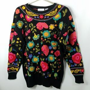 Vintage Arlando Embroidered Floral Knit Sweater